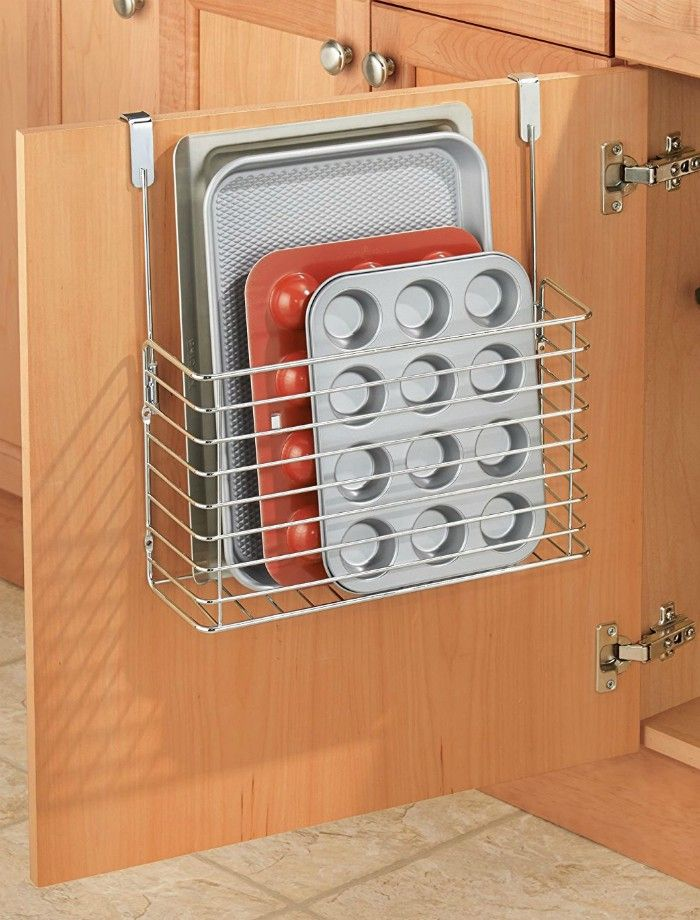 Over the Cabinet Kitchen Bakeware Organizer Basket - 14 brilliant storage ideas for small spaces