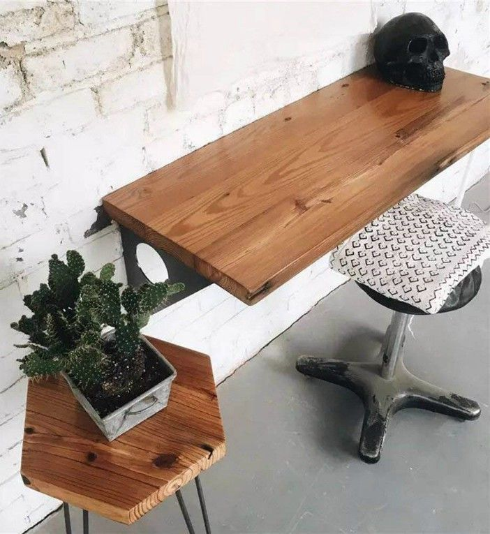 Industrial Rustic Wall mounted Table Dining Table Des - 12 floating desks that look great and take up minimal space
