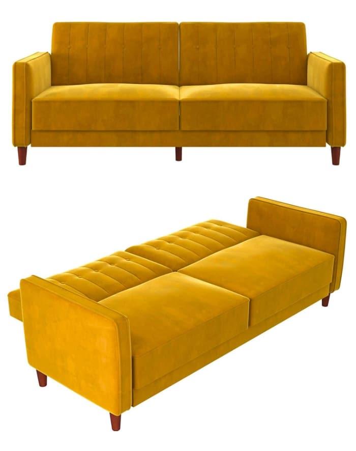 Mustard Yellow Velvet Sofa Bed Living