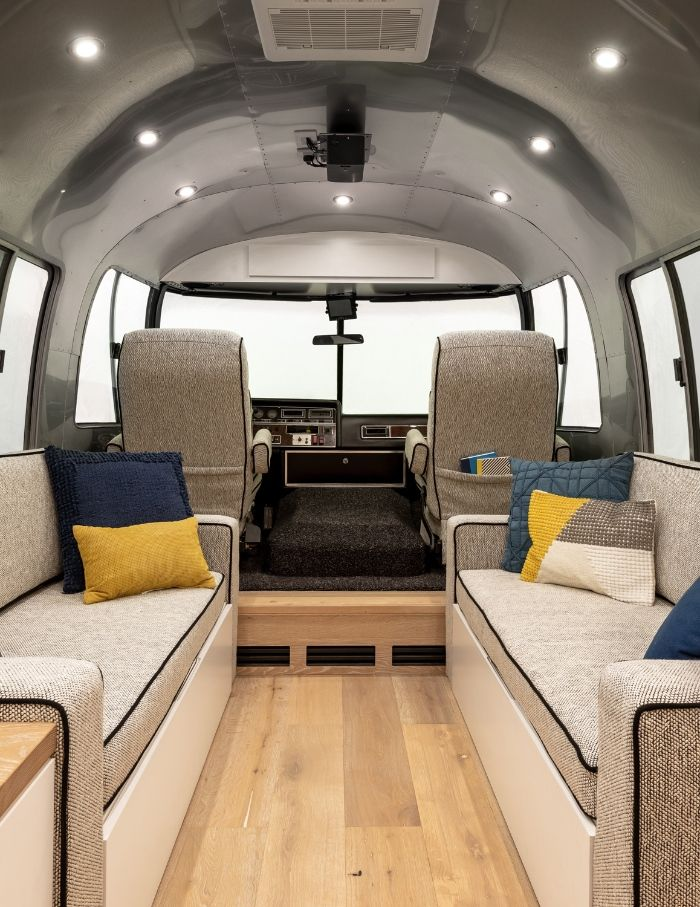 Contemporary City Airstream Motorhome by Timeless Travel Trailers 1 9 - Customized Airstream camper fits seven with room to spare for pop-up bar and entertainment area