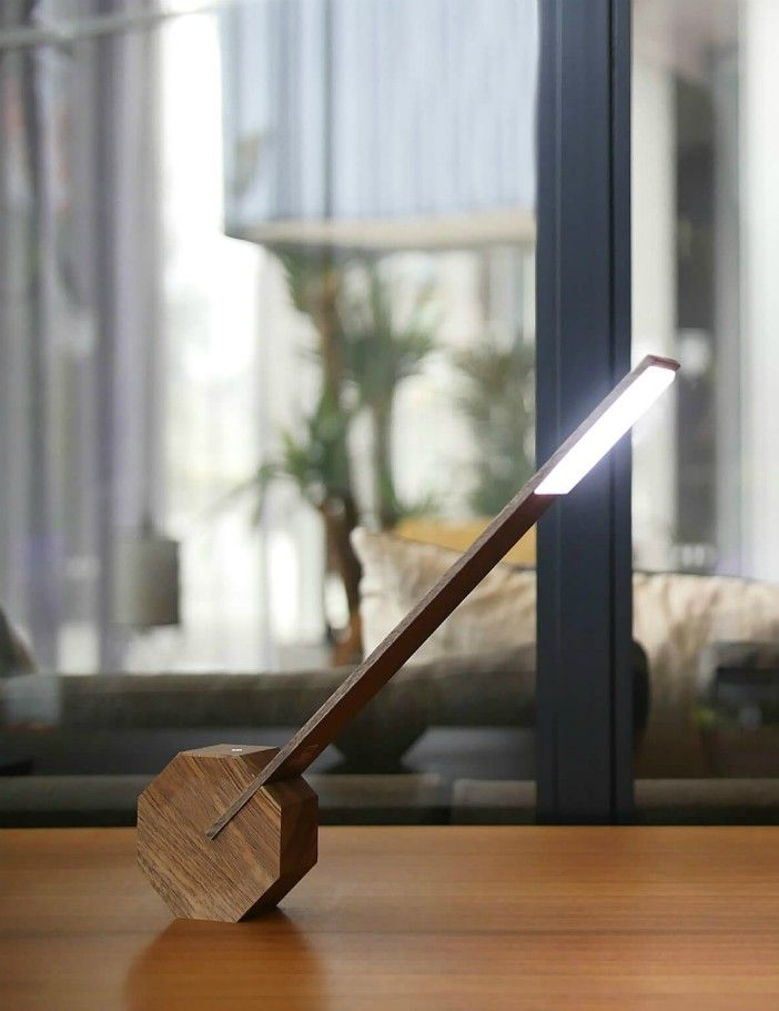 GINGKO OCTAGON ONE DESK LAMP WALNUT - 18 stylish desk lamps that will brighten your home office
