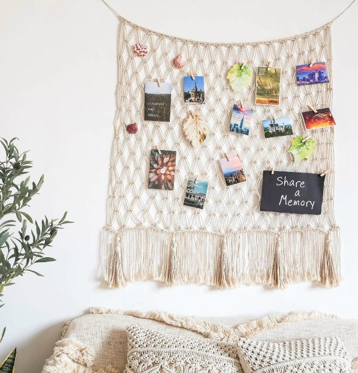 Macrame Hanging Photo Displays Fish Net - These 20 photo display ideas will give your memories a stylish edge