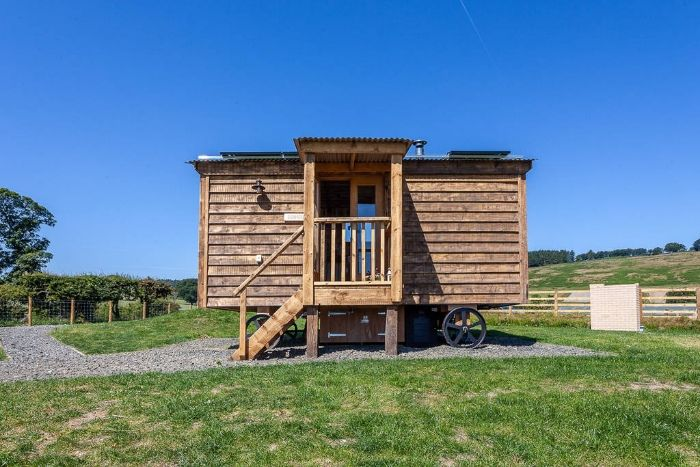 exterior of dunmore in the bright blue sky of northumberland 1024 wide 1 - Charming shepherd's hut boasts an ingenious bed with built-in dining table