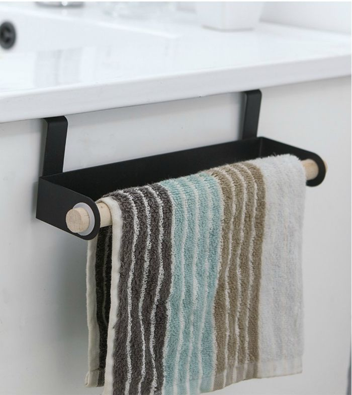 Over the Cabinet Door Towel Bar Stainless Steel for Kitchen Bathroom Housewares Organizer in Set of 2 - Turn your doors into storage space with these 20 clever ideas