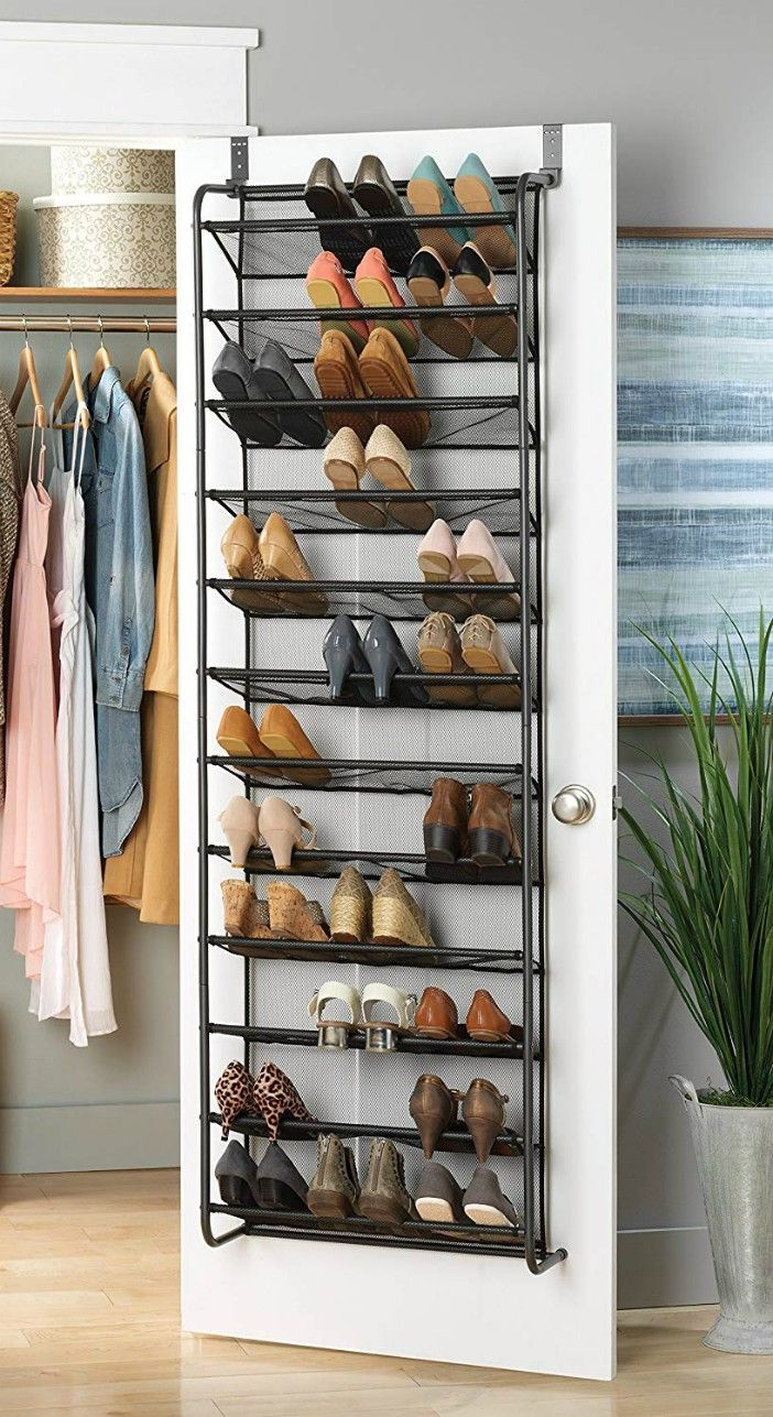 Whitmor 36 Pair Over The Door Shoe Rack Gun Metal Gray - Turn your doors into storage space with these 20 clever ideas