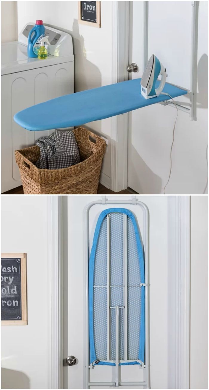 ironing board over door - Turn your doors into storage space with these 20 clever ideas
