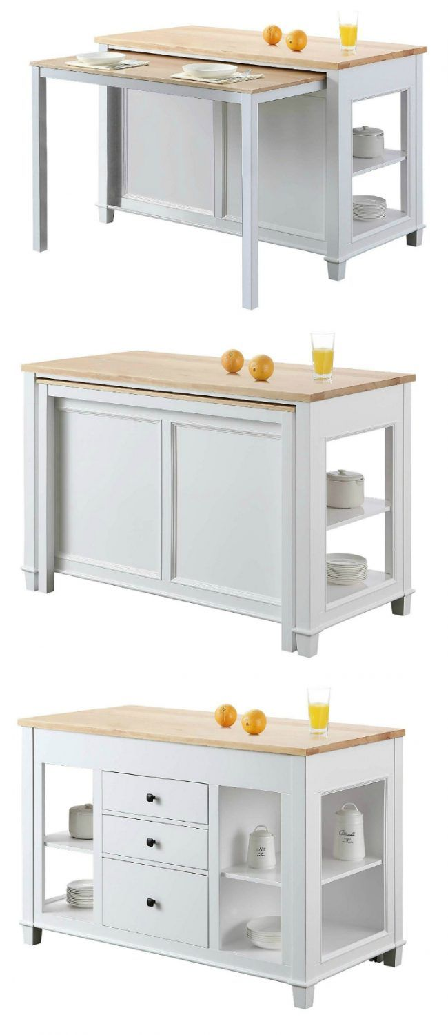 kitchen island dining table 650x1500 - These 12 dining tables are excellent solutions for small spaces