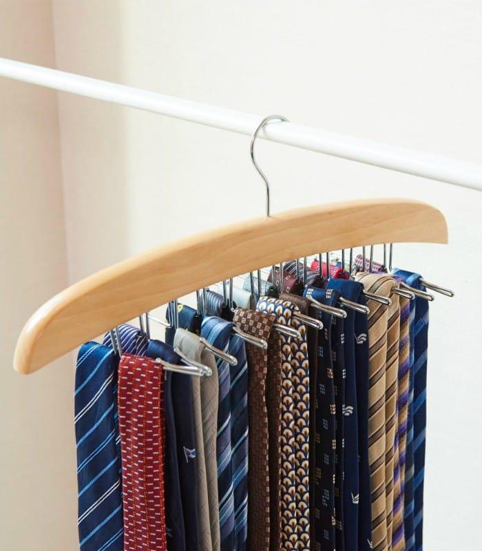 EZOWare 2 Pack Tie Belt Hangers Adjustable 24 Clip Scarf Racks Holder Hook Hanger for Closet Organizer Storage Beige - 20 brilliant ideas for organizing your closet