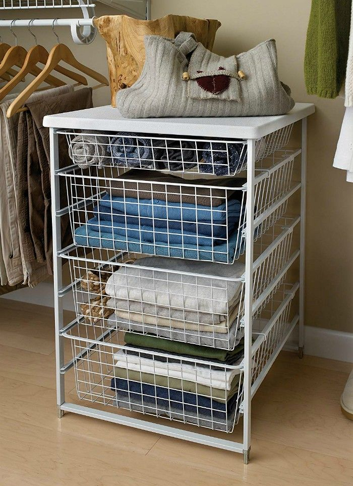 Freestanding Closet Storage 4 Baskets Drawer in White Finish 1 - 20 brilliant ideas for organizing your closet