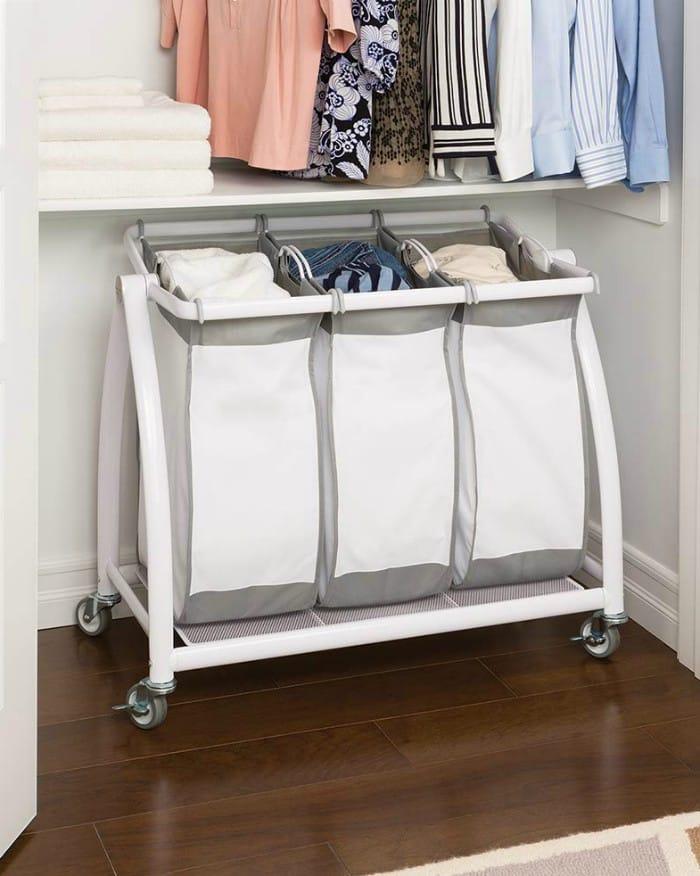Seville Classics Premium 3 Bag Heavy Duty Tilt Laundry Hamper Sorter Cart - 20 brilliant ideas for organizing your closet