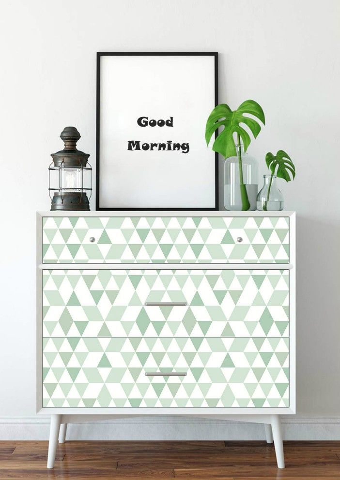 AMAZING WALL Green Triangle Peel and Stick Self Adhesive Wallpaper - 16 creative ways to use peel and stick wallpaper