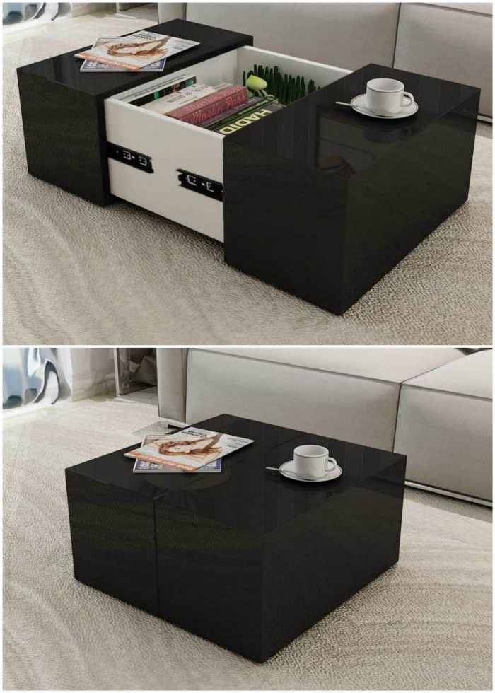 Festnight Modern Coffee Table with A Concealed Storage Compartment High Gloss Sofa and Couch End Side Table Living Room Home Furniture Decor Black - 18 stunning coffee tables with built-in storage