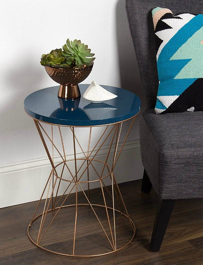 Kate and Laurel Ulane Modern Side Accent Table with Geometric Metal Base and Unfinished Natural Wood Top Gold - 20 gorgeous side and accent table ideas for your small space
