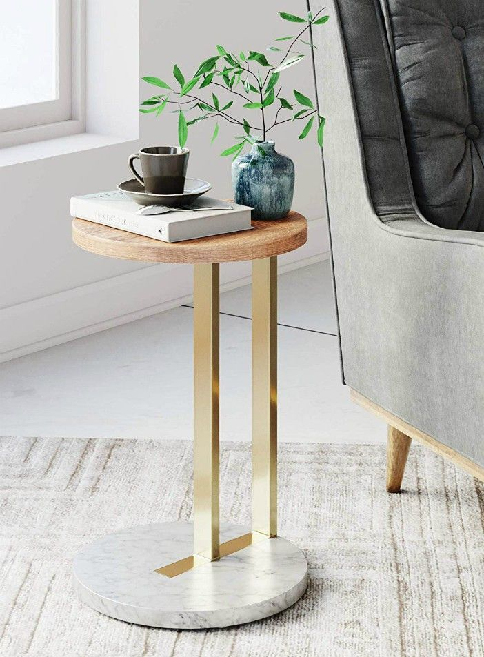Nathan James 32901 Wyatt Modern Round Side Table with Marble Base Metal Finish Laminate Wood Tabletop Oak BrassNathan James 32901 Wyatt Modern Round Side Table with Marble 1 - 20 gorgeous side and accent table ideas for your small space