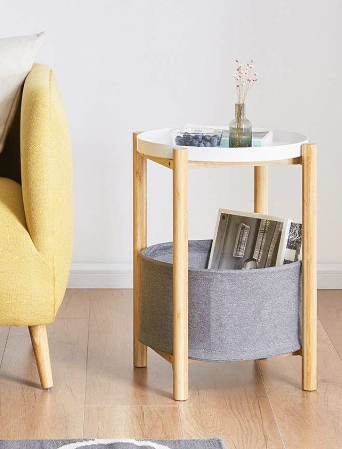 Round End Table Nightstand Gray Bamboo Side Table Serving Tray Stand Table - 20 gorgeous side and accent table ideas for your small space