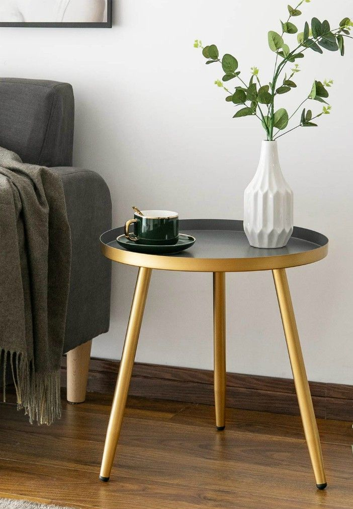 Round Side Table Metal End Table Nightstand Small Tables for Living Room Accent Tables Side Table for Small SpacesGold Gray by Aojezor - 20 gorgeous side and accent table ideas for your small space