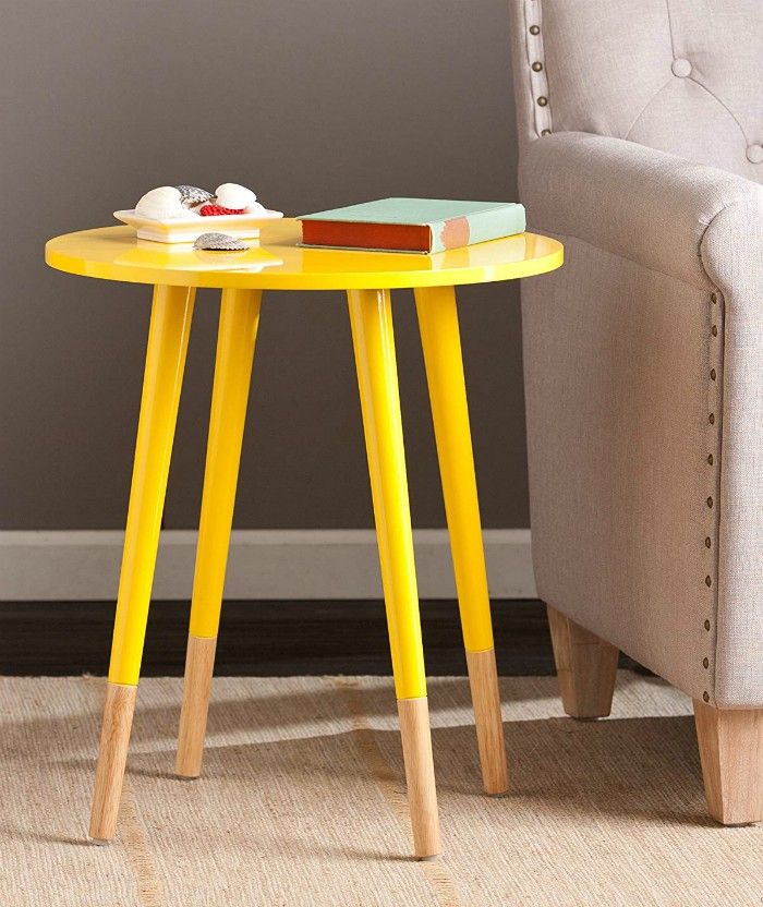 SEI Laney Round Table Glossy Yellow - 20 gorgeous side and accent table ideas for your small space