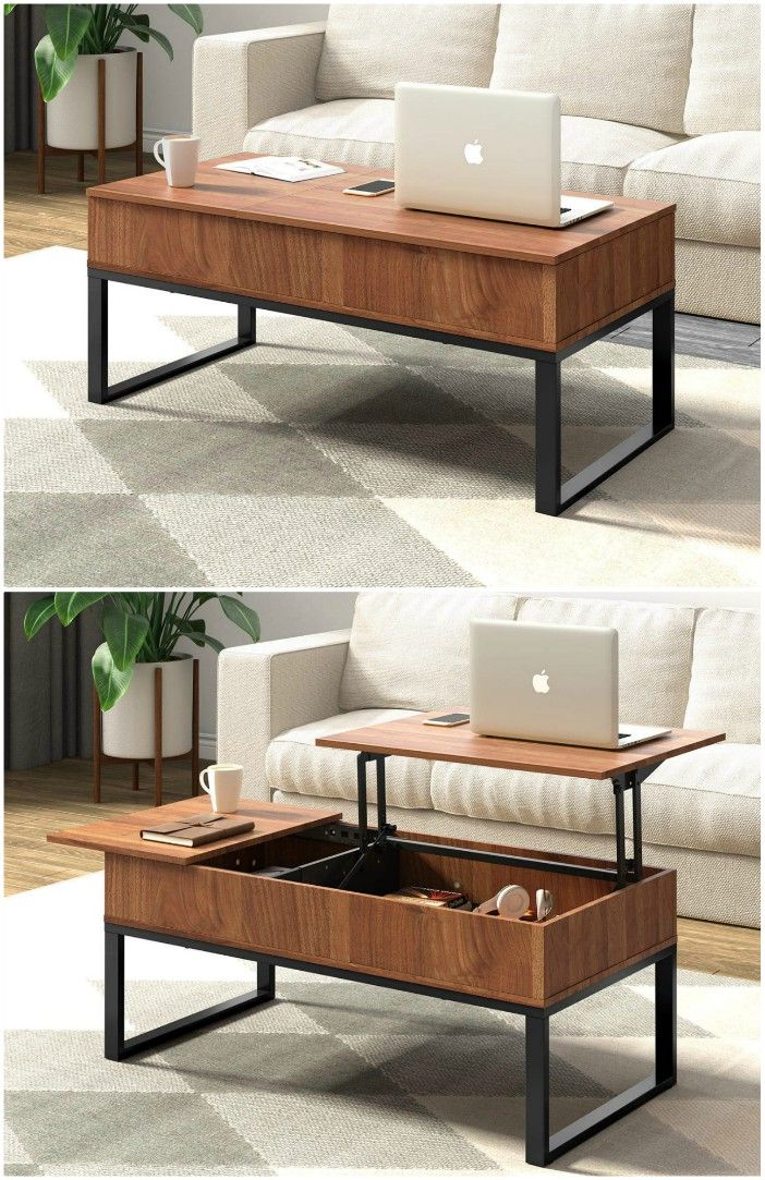 WLIVE Wood Coffee Table with Adjustable Lift Top Table Metal Frame Hidden Storage Compartment for Home Living Room - 18 stunning coffee tables with built-in storage
