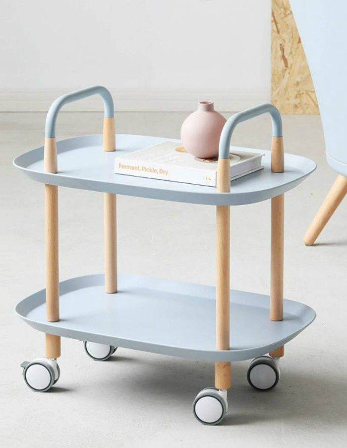 XWZJY Nordic Small End Tables 2 Tier Rolling Cart with Storage Open Shelf Couch Table with Handles Locking Wheels for Living Room Bedroom - 20 gorgeous side and accent table ideas for your small space