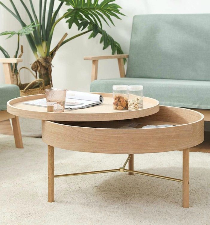 YJ Round Storage Coffee Table Solid Wood Round Screw on Coffee Table Light and Simple Storage Storage Suitable for Office Desk Game Center Home Office - 18 stunning coffee tables with built-in storage