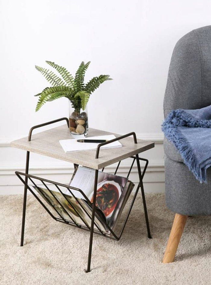 ZHIRONG Black Metal Magazine Rack Side Table Wood Effect Top - 20 gorgeous side and accent table ideas for your small space