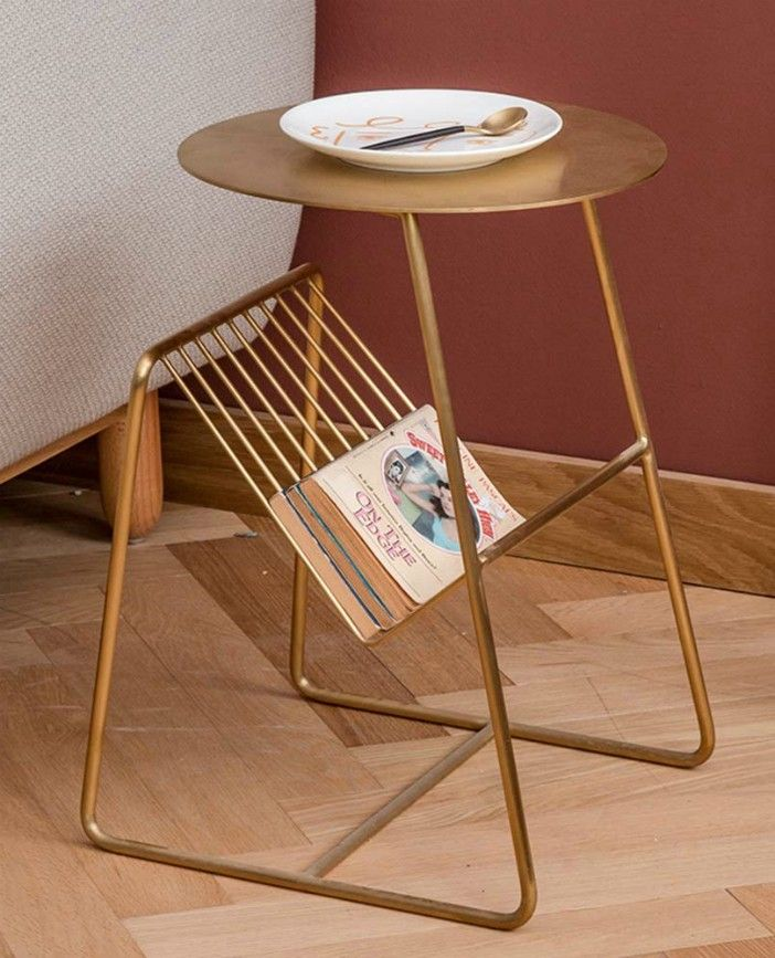 ZHIRONG Metal Side Table Coffee Table Books and Newspaper Racks Storage - 20 gorgeous side and accent table ideas for your small space