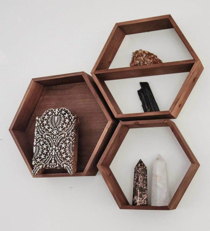 American Walnut Designer Hexagon Shelf Set Of Three Wall Shelves Kitchen Storage Crystals Or Essential Oils Geometric Farm Home Decor Wall Art Floating Shelf Display Honeycomb Hexegon Living In A Shoebox