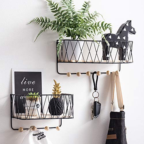 BULYZER Floating Shelves Wall Mounted Metal Wire Storage Display Racks Home Bathroom Decor for Garage Tools Keys Kitchen Spices Spoon 2 Pack - 20 floating shelves ideas that are sure to freshen up your walls
