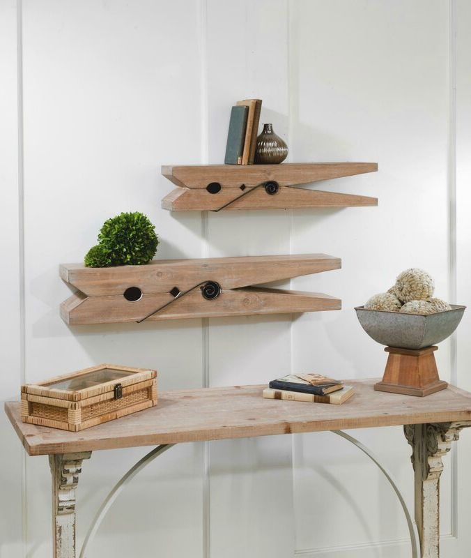 CoxClothespin2PieceWallShelfSet - 20 floating shelves ideas that are sure to freshen up your walls