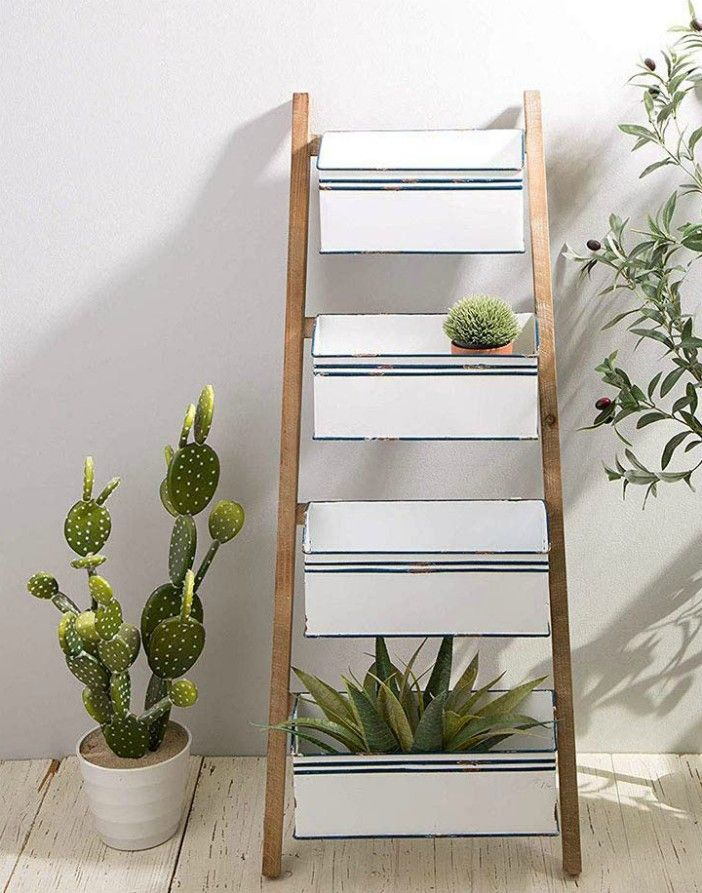 Glitzhome 43 H Farmhouse Decorative Garden Planter Shelf 4 Tiers Plant Stand Metal - 20 stylish ideas for decorating your small space with plants