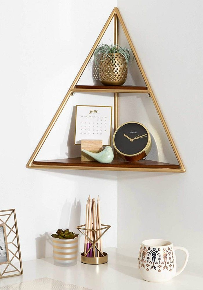 Kate and Laurel Melora Mid Century Modern Corner Shelf - 20 floating shelves ideas that are sure to freshen up your walls