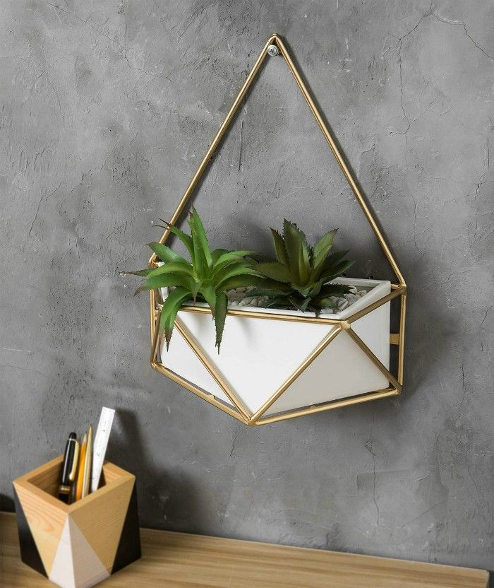 MyGift Geometric Wall Hanging White Ceramic Planter with Gold Tone Metal Frame - 20 stylish ideas for decorating your small space with plants