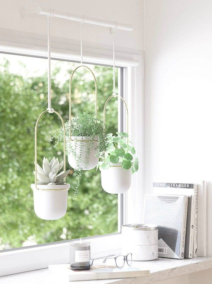 Umbra White Brass Triflora Hanging Planters for Indoor Plants or Herbs - 20 stylish ideas for decorating your small space with plants