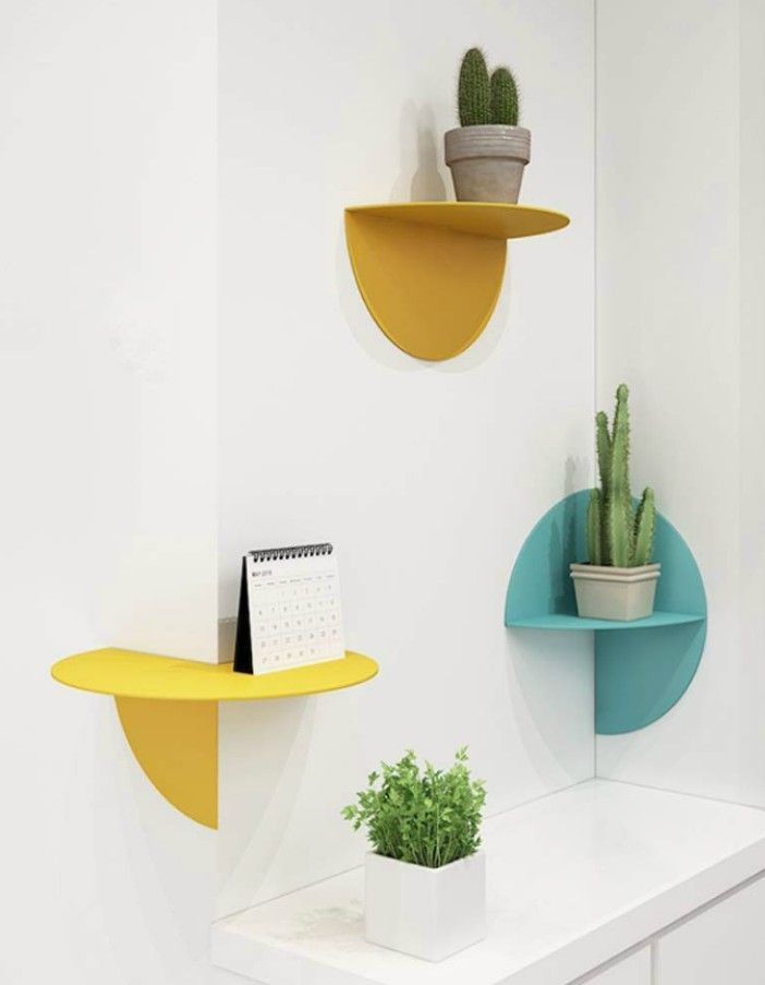 YLCJ Mental Wall Shelf Nordic Simple Floating Shelves Colorful Hanging Shelves Corner Shelf Wall Decor for Home - 20 floating shelves ideas that are sure to freshen up your walls