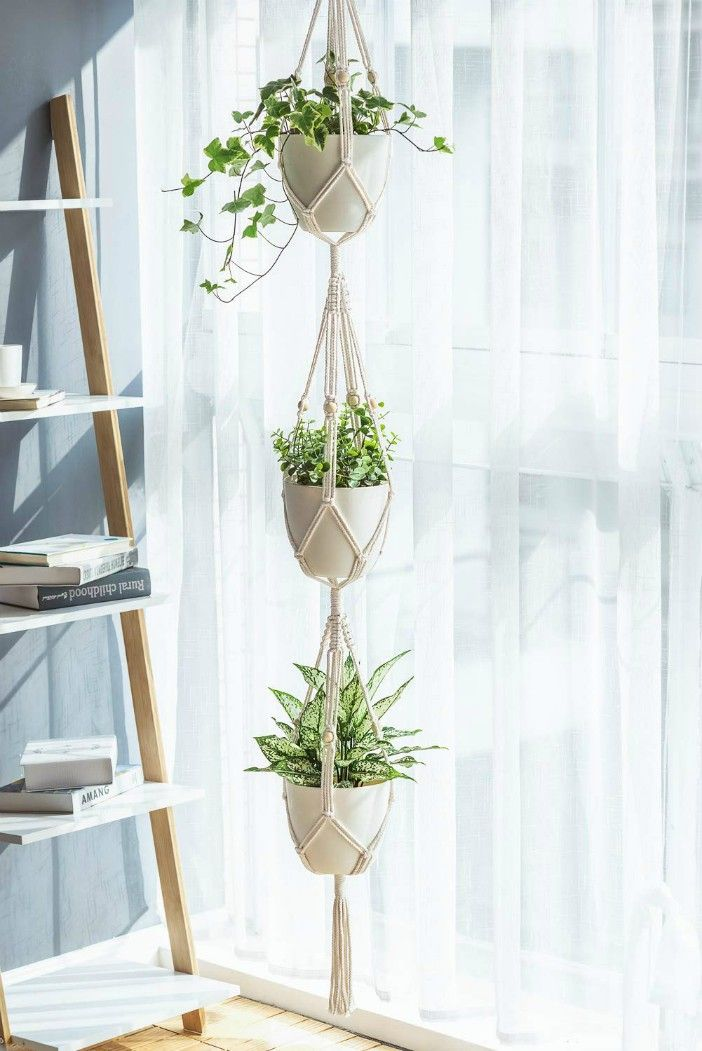 Macrame Plant Hanger 3 Tier  - 20 stylish ideas for decorating your small space with plants