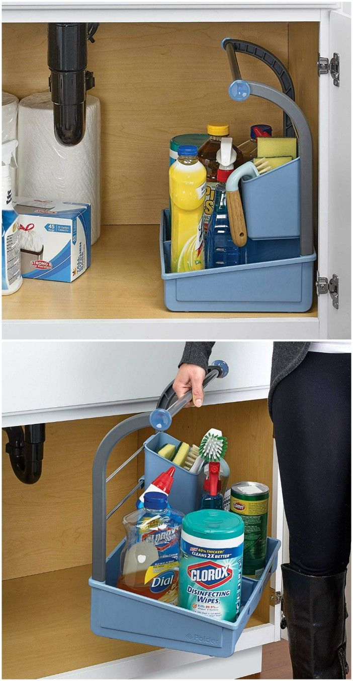Undersink caddy - 20 clever organizing ideas for taming your kitchen clutter