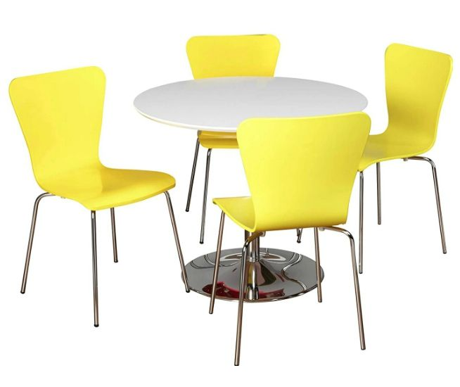 dining set white yellow 1 - These 20 dining sets were made for small-space dwellers