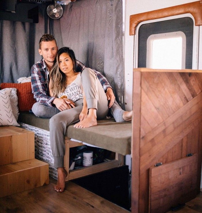 good on wheels 21 - Young couple turned drab motorhome into white haven (and cut their living expenses in half)