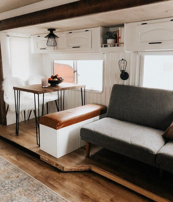 good on wheels 5 - Young couple turned drab motorhome into white haven (and cut their living expenses in half)