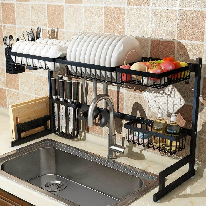 over sink drying rack - 20 clever organizing ideas for taming your kitchen clutter