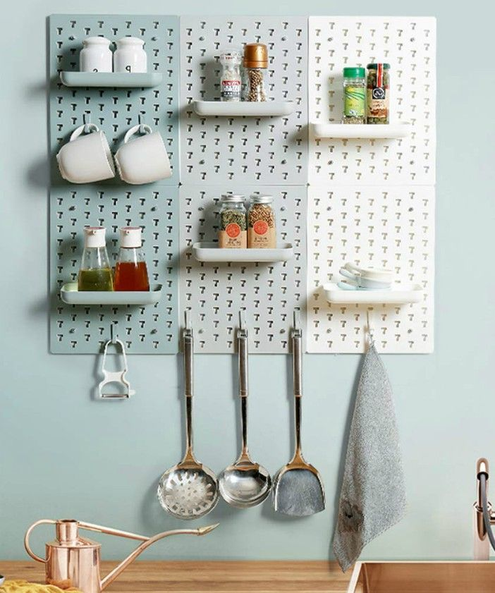 pegboard kitchen - 20 clever organizing ideas for taming your kitchen clutter