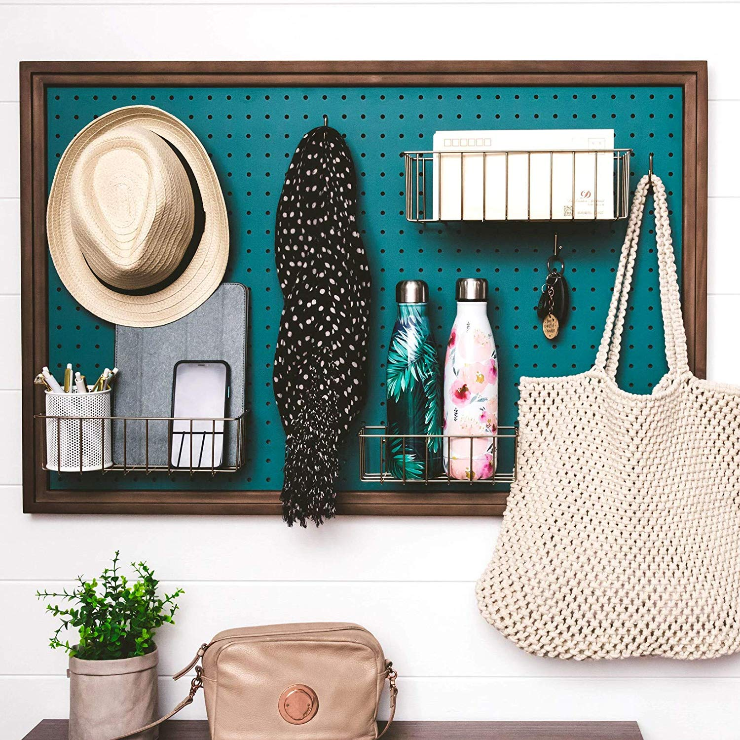 teal walnut pegboard - Add storage to any room with these 20 excellent wall organizers