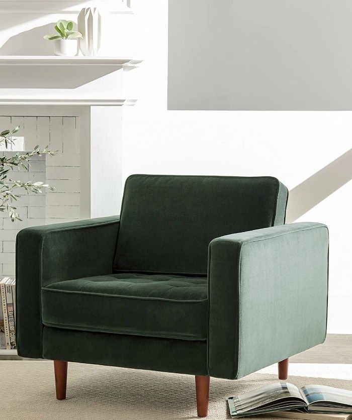 Rivet Aiden Tufted Mid Century Modern Velvet Accent Chair - 15 accent chairs that make a serious style statement