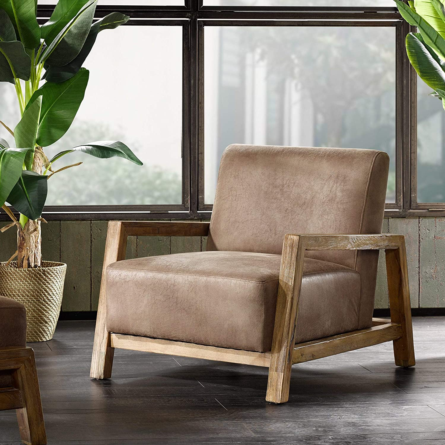 Taupe Lounge Chair Solid Casual Industrial Faux Leather Polyester Wood Natural Finish - 15 accent chairs that make a serious style statement