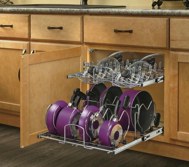 2TierPullOutKitchenwareDivider - 20 smart ways to organize your kitchen
