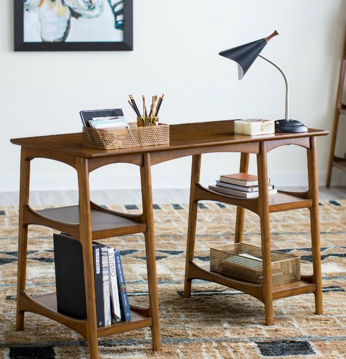 Belham Living Darby Mid Century Modern Desk Walnut - 15 excellent desk ideas for small spaces