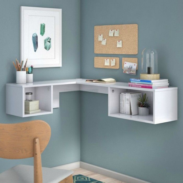 ChavesL ShapeFloatingdeskwithHutch - 15 excellent desk ideas for small spaces