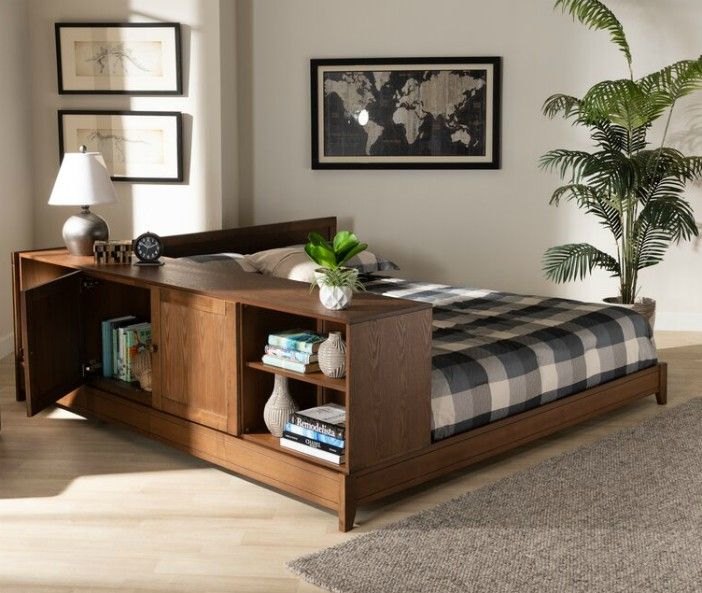 Evelin+Queen+Solid+Wood+Low+Profile+Platform+Bed