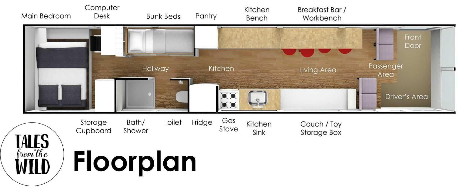 floorplan - Australian family turned 1998 Hino school bus into a delightful home on wheels