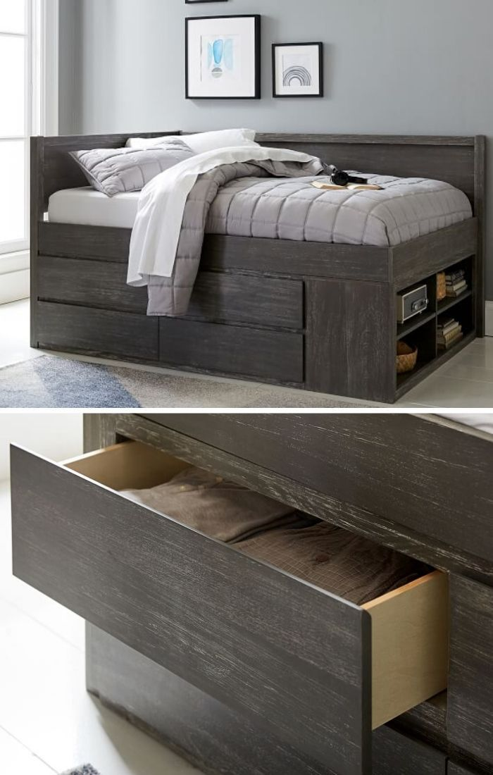storage-bed-bookcase-drawers
